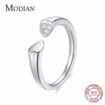 MODIAN 925 Sterling Silver Radiant Hearts Wedding Ring Fashion Simple Clear AAAAA CZ Women Engagement Ring Jewelry