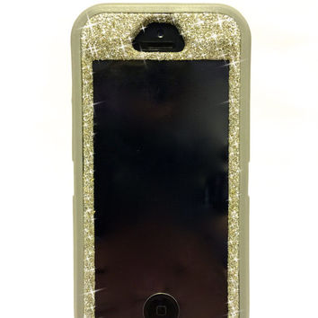 iPhone 5/5s OtterBox Defender Series Case Glitter Cute Sparkly Bling Defender Series Custom Case Grey/ White Gold