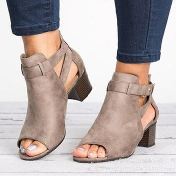 2019 Summer Ankle Boot Sandals High Heel Buckle Strap