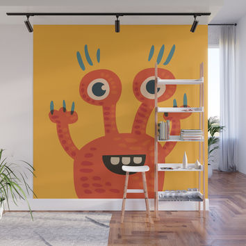 Funny Orange Happy Creature Wall Mural by borianagiormova