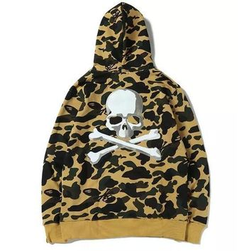 Apes Skull Joint Camouflage Men Hooded Sweatshirt Japanese Hip Hop Kanye Yeezus Personality Letters Embroidery Ma1 Hoodie Jacket