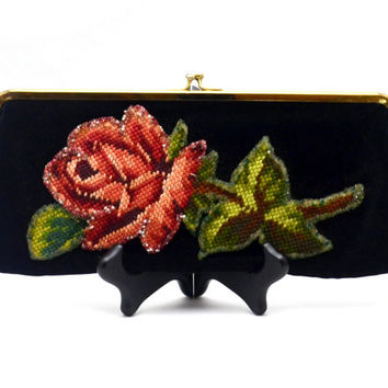 Exquisite Jolles Originals Clutch Purse, Vintage Needlepoint Rose with Beads on Black Velvet, circa 1950s-1960s