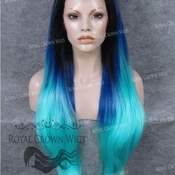 """30 inch Heat Safe Synthetic Straight Lace Front """"Hera"""" in Rooted Two Tone Blue"""