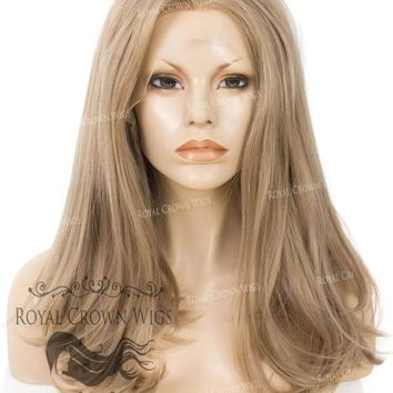 "17 inch Heat Safe Synthetic Lace Front ""Victoria"" Bob with Straight Texture in Dark Ash Blonde"