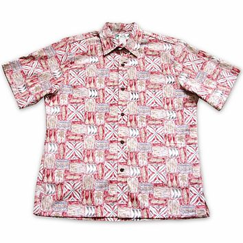 olukai red reverse print hawaiian cotton shirt