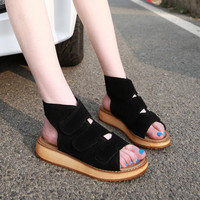 Rome Style Gladiator Women Sandals New Ankle-Wrap Genuine Leather Casual Sandals