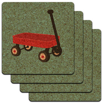 Little Red Wagon Low Profile Cork Coaster Set