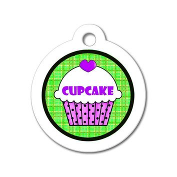Purple Cupcake with Green Pattern - Cute Pet Tag