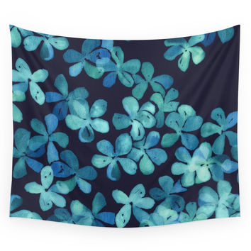 Society6 Hand Painted Floral Pattern In Teal Navy Wall Tapestry