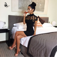 New autumn black red high neck evening party dress sexy short sleeve hollow out top women bodycon bandage dresses
