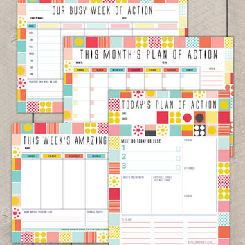 Printable Planning Pack Day Week Month Organiser Mid Century Colourful Grid Pattern