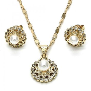 Gold Layered 10.156.0081 Earring and Pendant Adult Set, Flower and Ball Design, with Ivory Pearl and White Cubic Zirconia, Polished Finish, Golden Tone