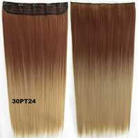 """Dip dye hairpieces New Fashion 24"""" Women Clip in on gradient wig Bath & Beauty Hair Ombre Hair Extensions Two Tone Straight hair Gradient Hair Extension Colorful Hairpieces GS-666 30PT24,1PCS"""