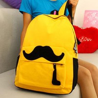 YESSTYLE: Smoothie- Moustache Backpack (Yellow - One Size) - Free International Shipping on orders over $150