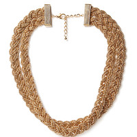 FOREVER 21 Braided Chain Layered Necklace Gold One