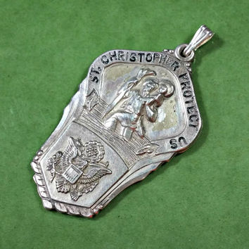 Vintage Sterling Silver Religious Medal Pendant Catholic Military Hayward Sterling St Christopher Protect Us Inscribed on Back 1-23-70