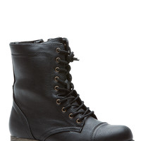 Black Faux Leather Ready for Combat Lace Up Boots