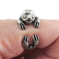 Three Toed Sloth Shaped Animal Wrapped Around Your Finger Ring in Silver