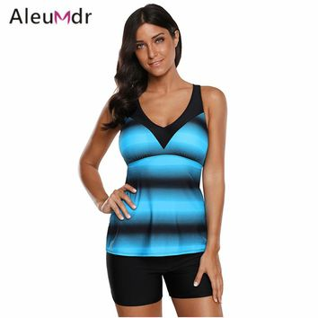 Aleumdr 2018 Bathing Suit Women Two Pieces Ombre Print Strappy Tankini Set Swimsuit Woman LC410662 Traje De Banos De Mujer