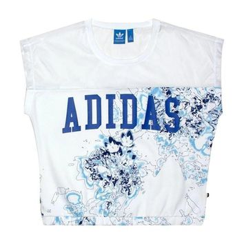Adidas print vest tops and long pants white women sports clothing