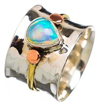 Ethiopian Opal Pear Shaped Stone Three Tone Band Ring