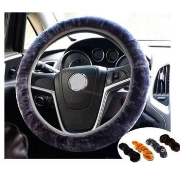 Day-First™ Car Accessory Soft Plush Car Auto Steering Wheel Cover Solid Winter Grips