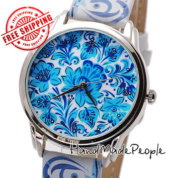 Blue Flowers Watch, Ladies Wristwatch, Beautiful Women Watch, Birthday Gift Idea, Gift for Her + Free Extra Strap - Worldwide Free Shipping