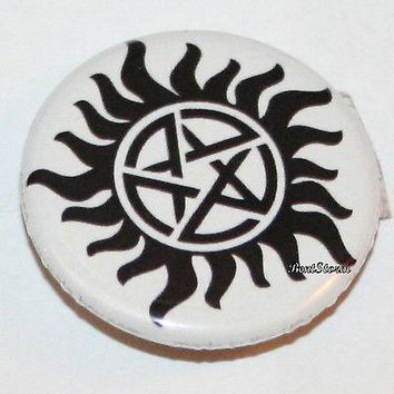 "Licensed cool CW SUPERNATURAL ANTI-POSESSION RUNE Symbol 1 1/4"" Button Pin Back Pinback  NEW"