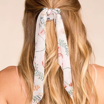 New Romance Ivory Floral Scarf Ponytail Hair Tie