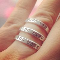 I love you to the moon and back three spiral ring made form aluminum