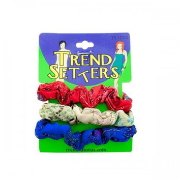 Asian Fabric Hair Scrunchies Set (pack of 24)