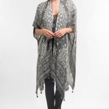 Printed Kimono Cover Up With Tassel
