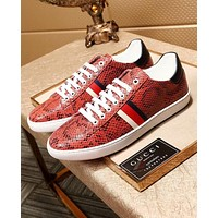 Gucci New Popular Men Casual Stripe Serpentine Sneakers Sport Shoes Red I-OMDP-GD