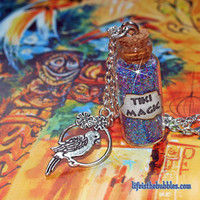 Tiki Room Inspired, Tiki Magic Necklace with a Bird on a Swing Charm, Disneyland, Disney World, by Life is the Bubbles