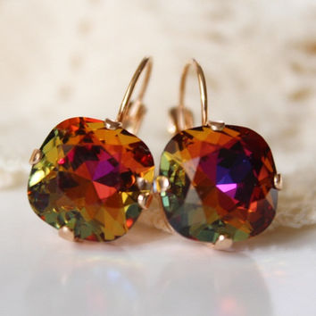 Rainbow, Swarovski Crystal Earrings, Cushion Cut Square Rhinestone Leverback, Bridesmaid Earrings, 12mm Golf