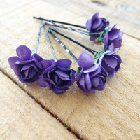 Purple Flower Wedding Hair Pins,  Bridal Hair Pins, Hair Accessories, Fabric Hair Pins, Bridesmaid Hair, Woodland - Set of 6