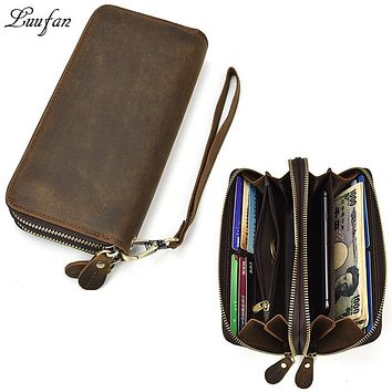 Double Zipper Men Wallets Genuine Leather Long Clutch Wallet Phone Coin Pocket Cow Leather Card Holder Man Purse