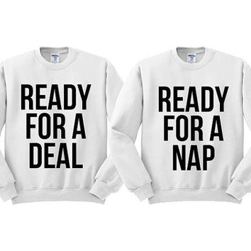 White Crewneck Best Friend Ready For A Deal For A Nap Black Friday Sweatshirt Sweater Jumper Pullover