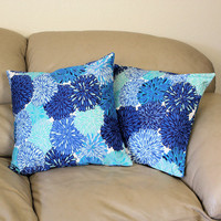 "One Decorator Throw Pillow in Blue Chrysanthemum Cotton Fabric - 16"" or 18"" Cover"