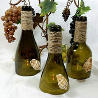 Recycled Wine Bottle Hurricane Toppers for Taper or Tealight Candles/Seashell Vino Bottle Tea Light Holders/Repurposed Bottles/Shabby Chic
