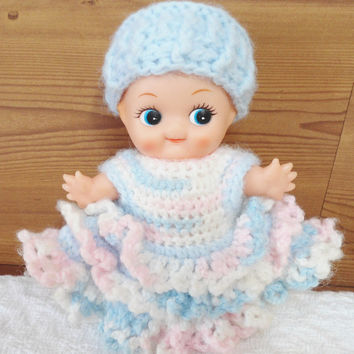 Vintage Kewpie Doll Hand Crochet Blue/Pink Dress w/Blue Hat