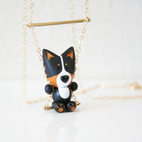 Coco the tri-color Pembroke Welsh Corgi necklace on a swing -14k Gold filled-