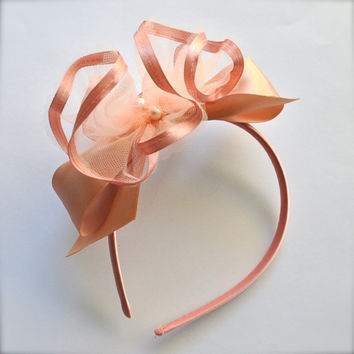 Ribbon tulle, pearls and bow Headband. Vintage pink  and cream  for girls, teens, women. Flower Girl accessory.