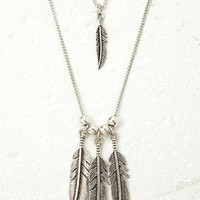 Layered Feather Pendant Necklace
