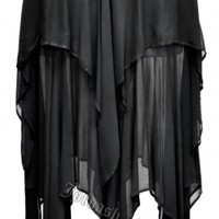 Dark Star Gothic Black Georgette Multi Tier Witchy Hem Skirt [DS/SK/304B] - $54.99 : Mystic Crypt, the most unique, hard to find items at ghoulishly great prices!