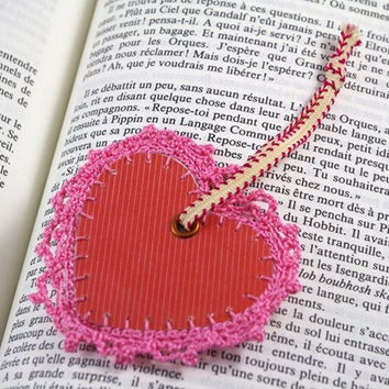 bookmark heart red pink crochet bookmark lace romantic label