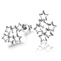 MLOVES Women's Silver Six Stars Earring Studs