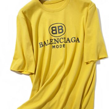 Balenciaga yellow short sleeve top blouse shirt