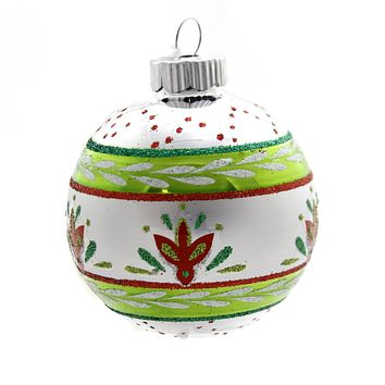 Shiny Brite HS ROUNDS & TULIPS W/REFLECTOR. Christmas Ornament 4027566S Lime