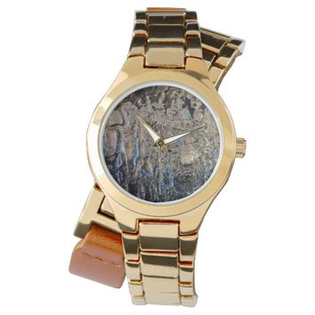 Silver and Blue Textured Rock Abstract Watch